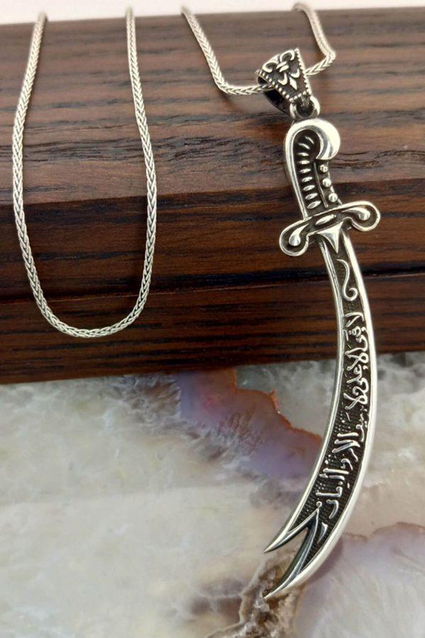 Hz. Ali Kılıcı Zülfikar Gümüş Erkek Kolye Hediyelik